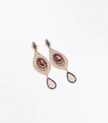 Gold Filigree Gem Embellished Chandelier Earrings New Look