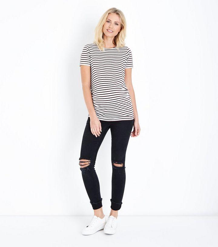 6cb578ebde6df Maternity Black Turn Up Hem Over Bump Skinny Jeans | New Look