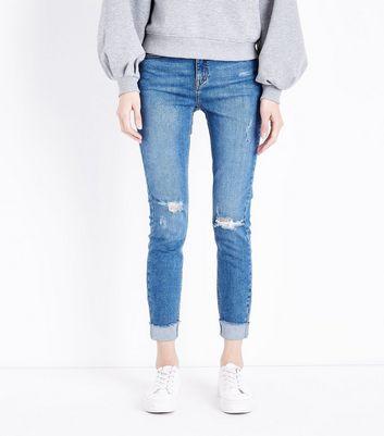 Blue Turn Up Hem Ripped Skinny Jenna Jeans New Look