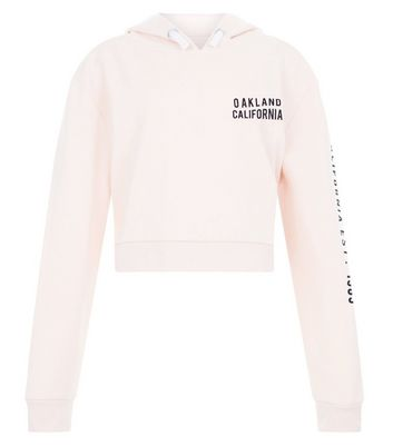 Teens Shell Pink Oakland California Slogan Hoodie New Look