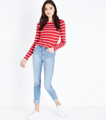 Blue Turn Up Hem Skinny Jenna Jeans New Look