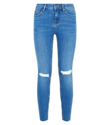 Blue Ripped Fray Hem Skinny Jenna Jeans New Look