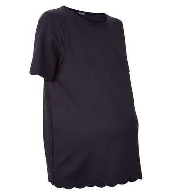 Maternity Black Scallop Hem T-Shirt New Look