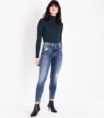 Blue Dark Wash Ripped Raw Split Hem Skinny Jenna Jeans New Look