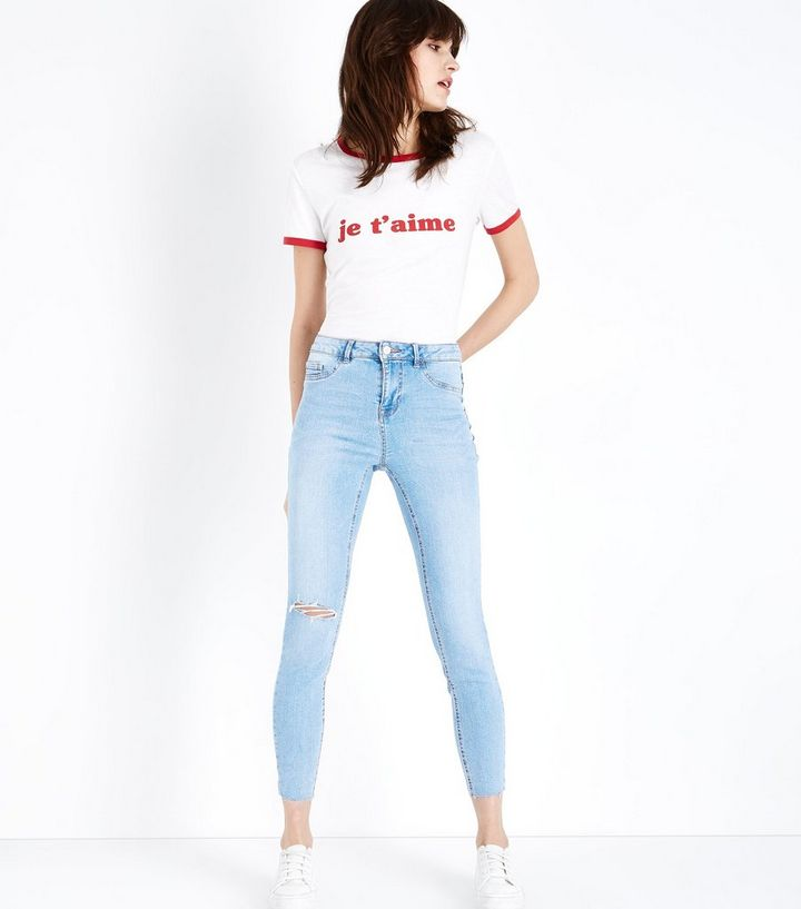 where to buy shop discount collection Pale Blue Ripped Raw Hem Skinny Jenna Jeans Add to Saved Items Remove from  Saved Items
