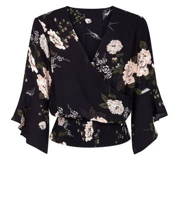 AX Paris Black Floral Print Wrap Front  Top New Look