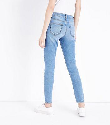 Blue Ripped Knee Raw Hem Skinny Jenna Jeans New Look