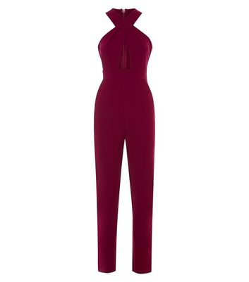 AX Paris Plum Cross Strap Front Jumpsuit New Look