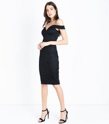 AX Paris Black Lace Sweetheart Neck Midi Dress New Look