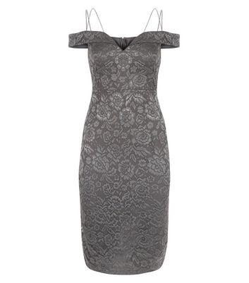 AX Paris Pewter Lace Strappy Midi Dress New Look