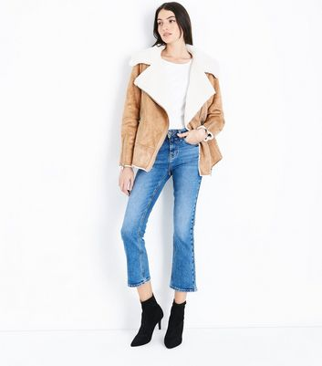 Blue Cropped Kick Flare Jeans New Look