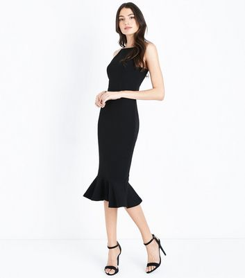 AX Paris Black Frill Trim Midi Dress New Look