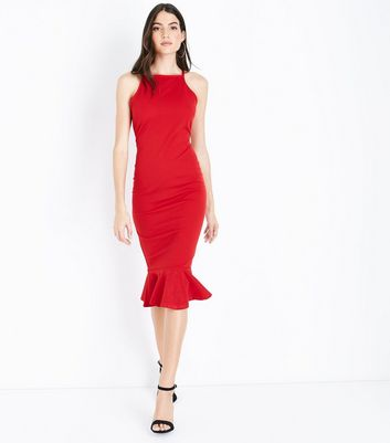 AX Paris Red Frill Hem High Neck Midi Dress New Look