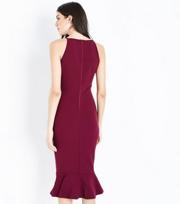 AX Paris Plum Frill Hem High Neck Midi Dress New Look