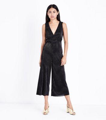 Petite Black Metallic Stripe Plisse Culotte Jumpsuit New Look