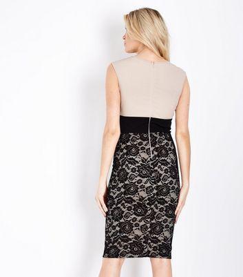 AX Paris Shell Pink Lace Skirt Midi Dress New Look
