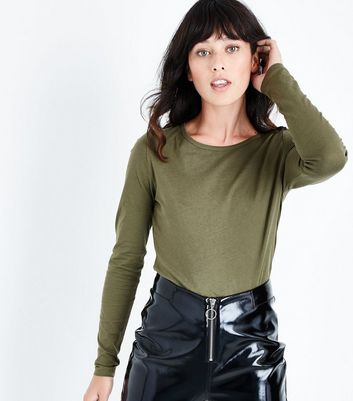 Tall Khaki Long Sleeve Crew Neck Top New Look