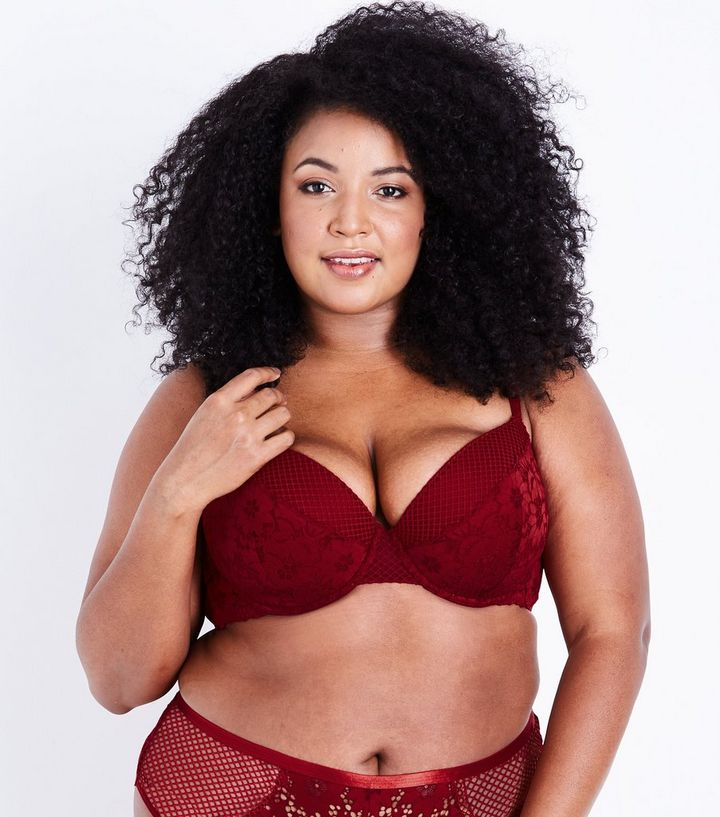 d2696be8385 Curves Burgundy Fishnet and Lace Bra Add to Saved Items Remove from Saved  Items