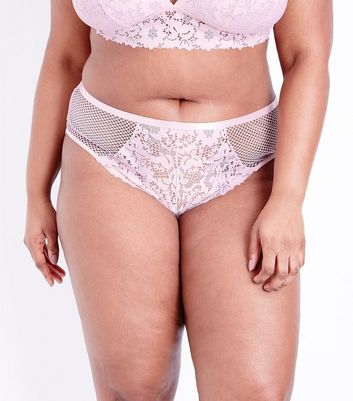 Curves Pink Lace and Fishnet Brazilian Briefs