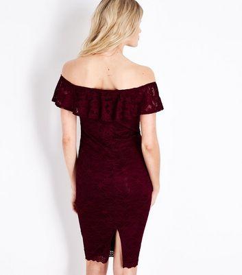 AX Paris Burgundy Lace Bardot Neck Dress New Look