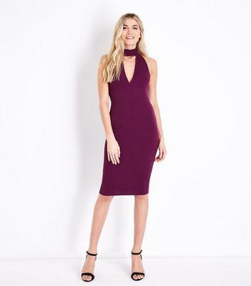 AX Paris Purple Choker Neck Midi Dress New Look