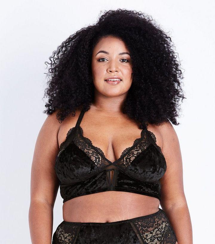 752b6d3c4a45c8 Curves Black Velvet and Lace Bralette