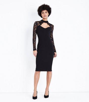 AX Paris Black Lace Long Sleeve Midi Dress New Look
