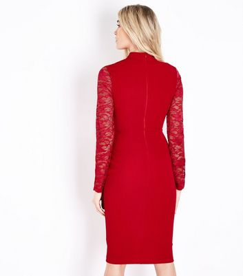 AX Paris Red Lace Sleeve Choker Neck Midi Dress New Look