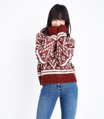 Rust Fairisle Knit Jumper New Look