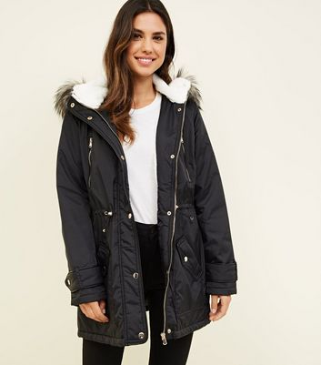 Black Faux Fur Lined Hooded Parka Coat