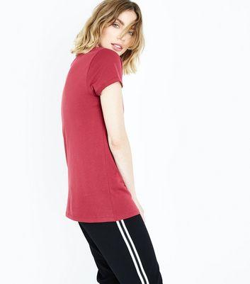 Burgundy Paris Metallic Print T-Shirt New Look