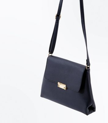 Black Foldover Cross Body Bag New Look