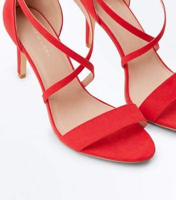Red Suedette Strappy Stiletto Sandals New Look
