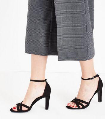 Black Suedette Slim Block Heel Strappy Sandals New Look