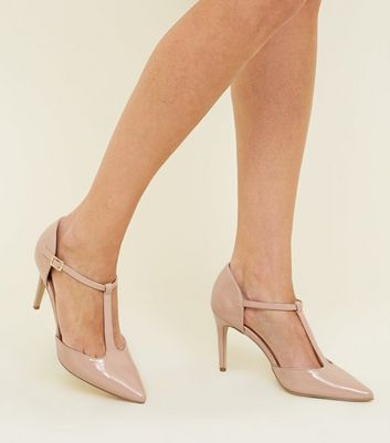 Nude Patent Pointed Stiletto Heel Courts New Look