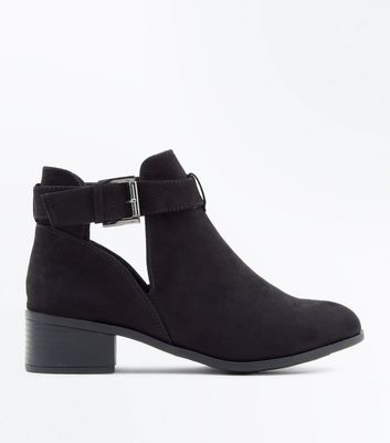 Teens Black Suedette Cut Out Boots New Look