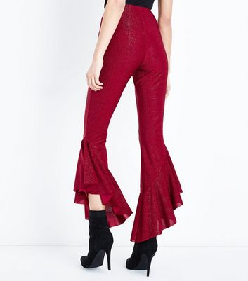 Red Glitter Frill Hem Trousers New Look