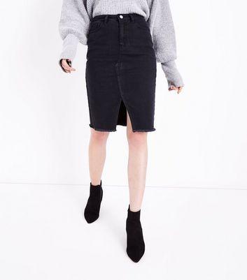 Tall Black Split Hem Denim Midi Skirt New Look