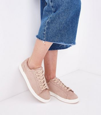 Nude Suedette Contrast Sole Trainers New Look