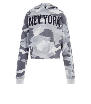 Teens Green Camo New York Hoodie New Look