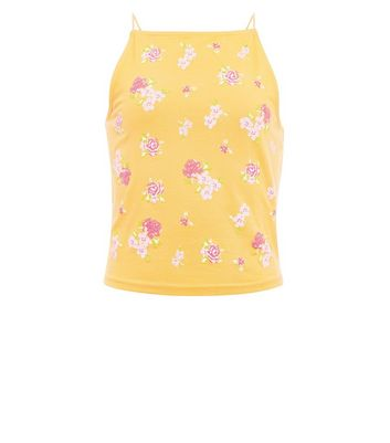 Teens Yellow Floral Cami Top New Look