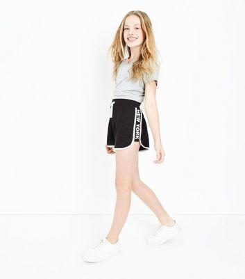 Teens Black New York Side Stripe Shorts New Look
