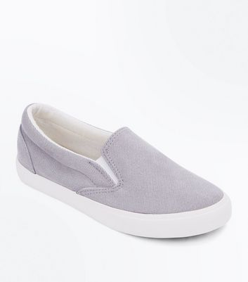 Grey Corduroy Slip On Trainers New Look