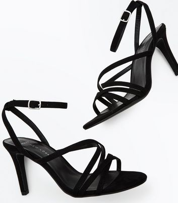 Wide Fit Black Suedette Strappy Heeled Sandals New Look