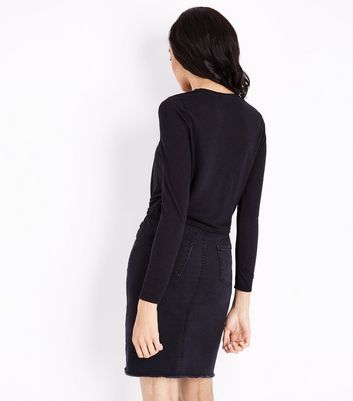 Black Twist Front Long Sleeve Top New Look