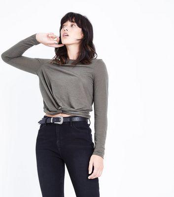 Khaki Twist Front Long Sleeve Top New Look