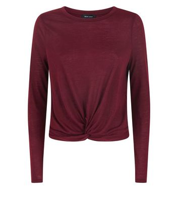 Burgundy Twist Front Long Sleeve Top New Look