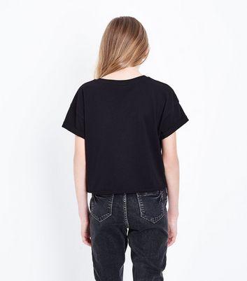 Teens Black Pizza My Heart Slogan T-shirt New Look