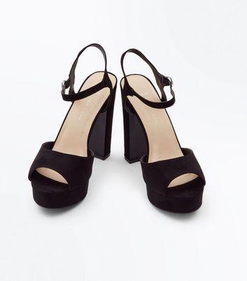 Wide Fit Black Suedette Platform Peep Toe Heels New Look