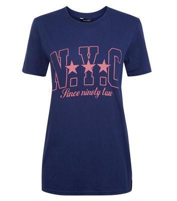 Navy NYC Print Oversized T-Shirt New Look